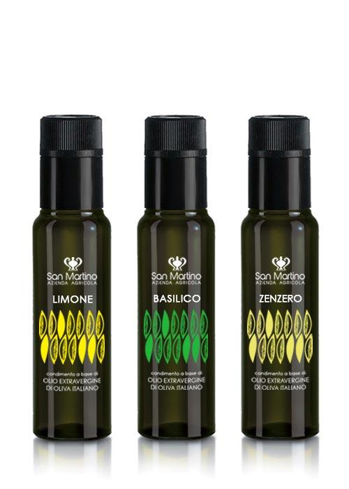 Aromatizzati - condimenti a base di olio extravergine di oliva ed estratti di limone, basilico e zenzero.